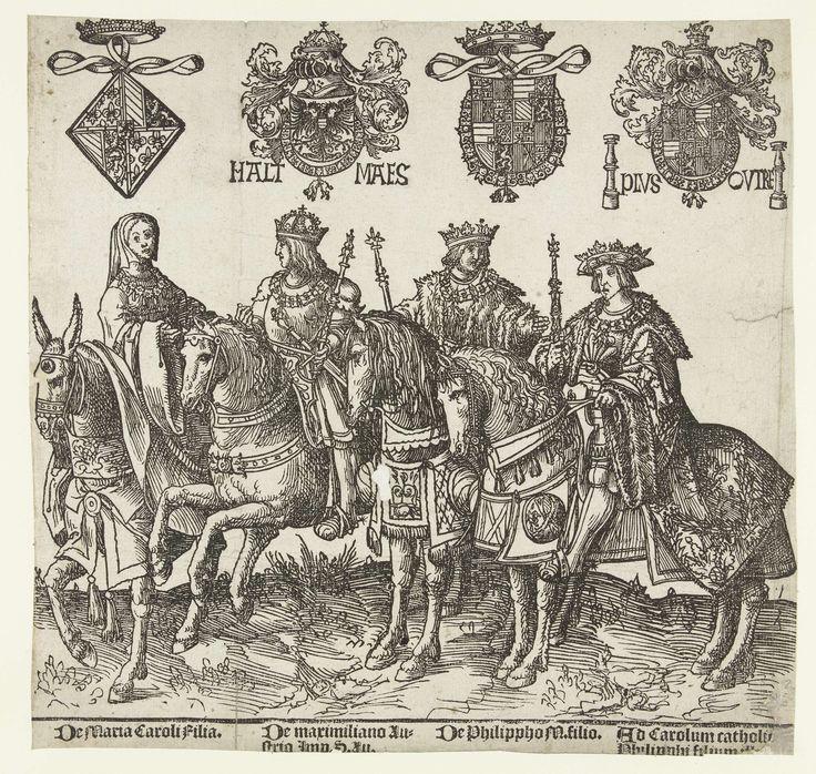 Maria of Burgundy, Maximilian I, Philips the Fair and Charles V, by Jacob Cornelisz. van Oostsanen, 1518.