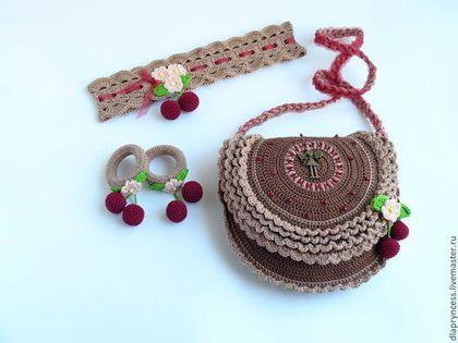 детская сумочка с вишнями, коричневая сумочка для девочки, повязка на голову, резиночки для волос, брошка-вишенки