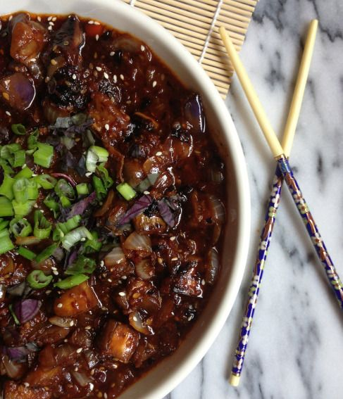 asian recipe spicy ground chicken and eggplant