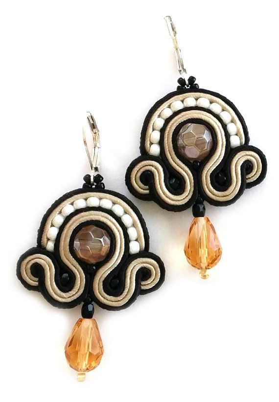 Soutache jewelry soutache earrings boucles by SaboDesign on Etsy