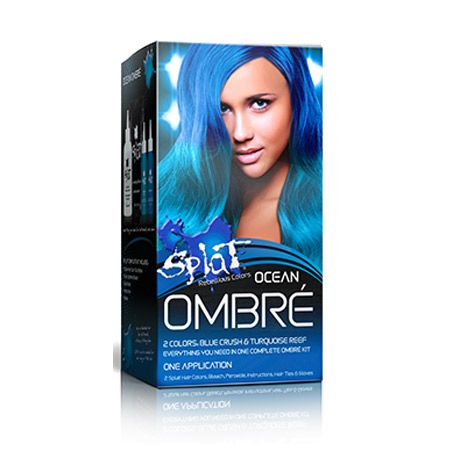 Haluatko siniset liukuvärjätyt hiukset? Splat Complete kit Ombré sarjasta shokkiväriset liukuvärisävyt ja kaiken mitä tarvitset hiusten liukuvärjäämiseen.
