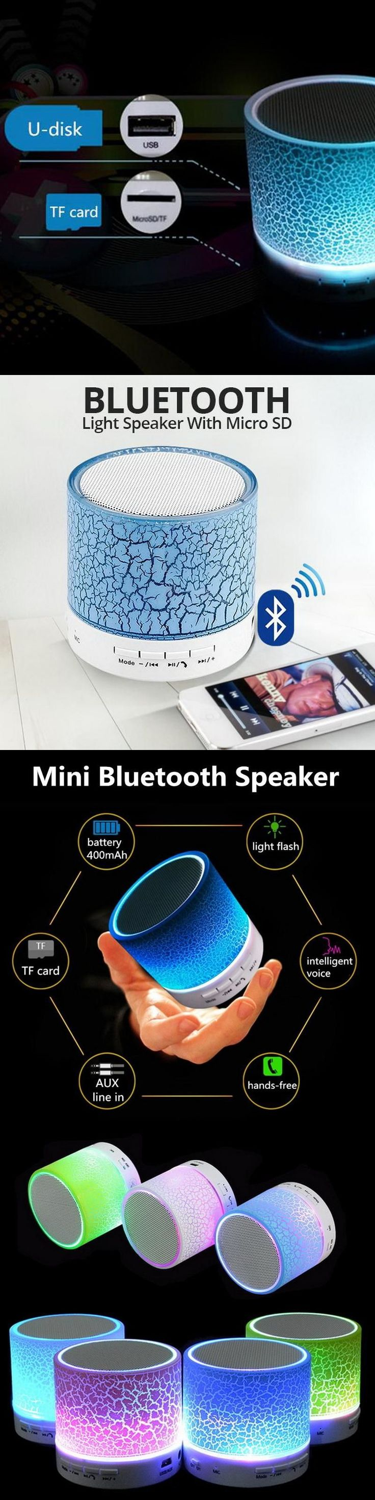 Mini LED Portable Bluetooth Speakers Wireless Hands Free With TF USB FM Blutooth Music For Mobile Phone iPhone Bluetooth Device