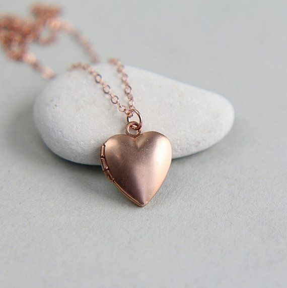 Personalized Locket, Tiny Locket Necklace, Rose Gold Locket, Little Heart Locket,Rose Gold Necklace, Rose Gold Jewelry, Personalized Jewelry