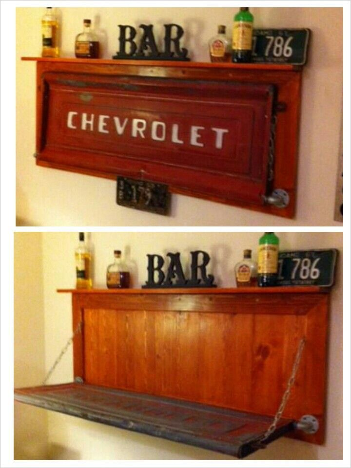 man+cave+bars | Neat man cave bar but with ford gate | Man Room