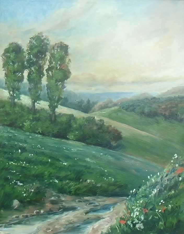 Landscape with a road. Oil on canvas.