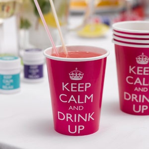 Keep calm and drink cups for fruit punch, fizzy drinks or cocktails, the choice is yours! From the Fuschia Boutique at www.fuschiadesigns.co.uk.