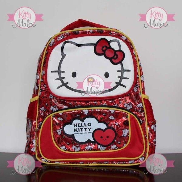 Mochila GRANDE RUZ Roja Corazones/Hongos Hello Kitty