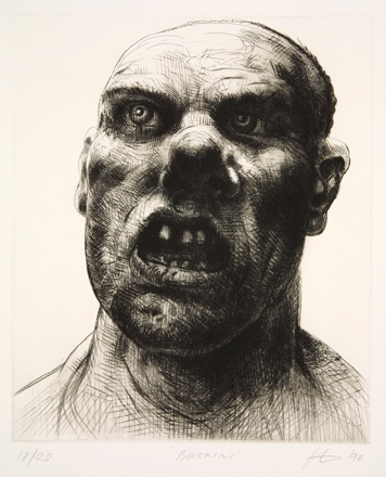 Peter Howson drypoint called 'Barking' made in 1998 from the 'Underground Series'.