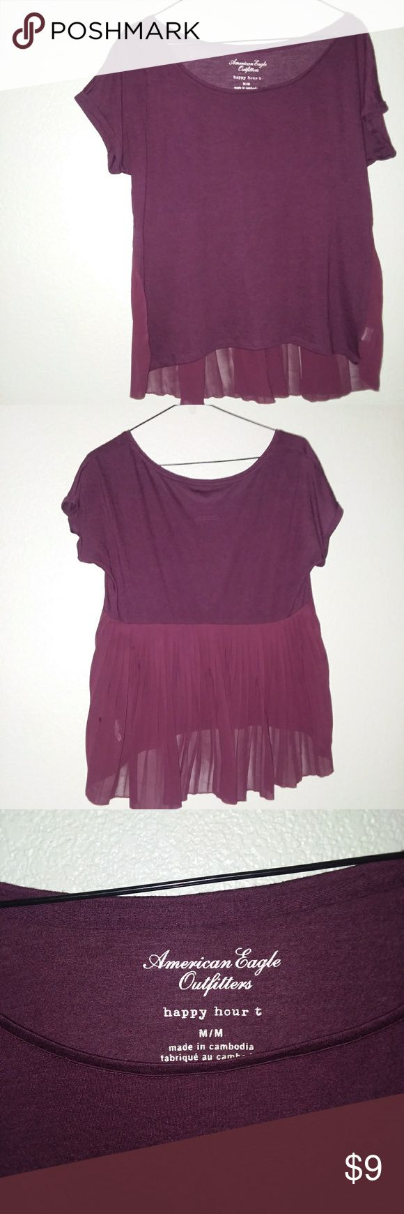 American Eagle Happy Hour T Size - Women's Medium Color - Dark Red Burgundy Details - Pleated Sheer Back Wear - Worn American Eagle Outfitters Tops
