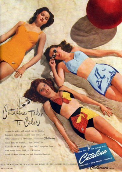 Vintage ads for women's swimsuits.