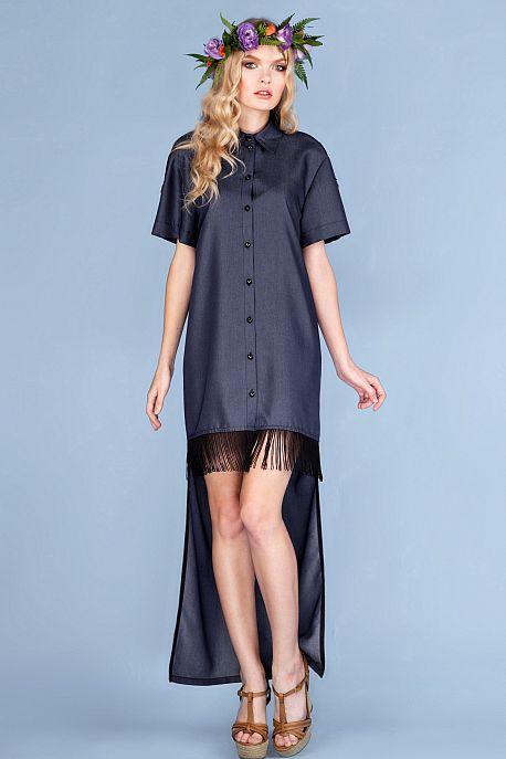 Платье-рубашка с ассиметричным низом и бахромой