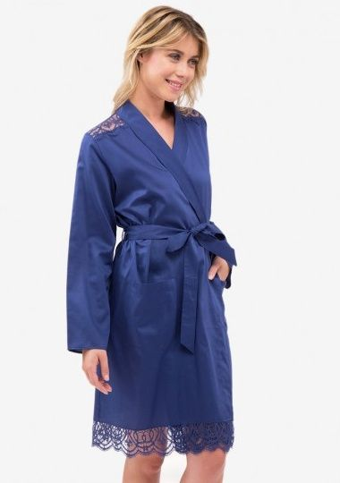 7c05e5226f Dark Blue Short Cotton Sateen Robe