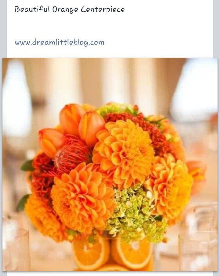 Orange centerpiece wedding ideas pinterest for Orange centerpieces for tables