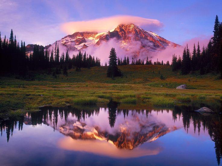 Mountain SceneryMountain, Water Pictures, Mount Rainier, Beautiful, Washington States, National Parks, Places, World Travel, Landscapes Photography