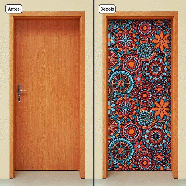 Adesivo Decorativo de Porta - Mandalas - Flores - 520mlpt  Renove seu ambiente com o adesivo de porta da Letto*, muito prático, rápido e sem sujeira.  Produto autocolante, pronto para aplicação, sua porta de cara nova em questão de minutos.  Adesivo na medida padrão de 210cm x 90cm. Se a porta fo...