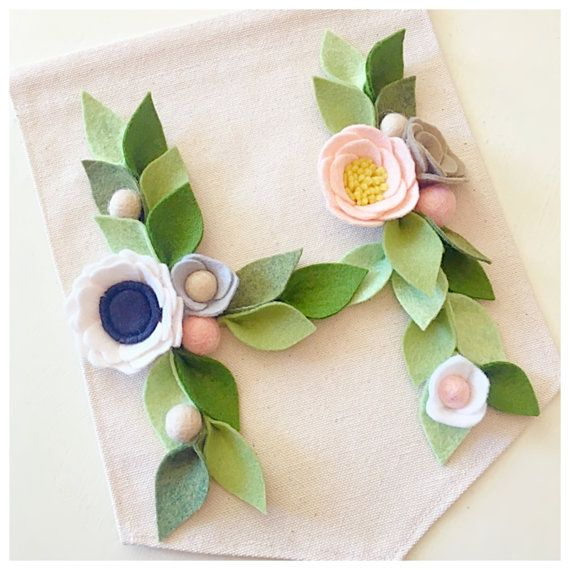 INITIAL BANNER // Floral Letter Banner // Canvas Wall Banner // Custom You Pick The Colors
