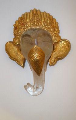 Mascherina Ganesh cristallo di rocca,rame dorato     altezza cm.16