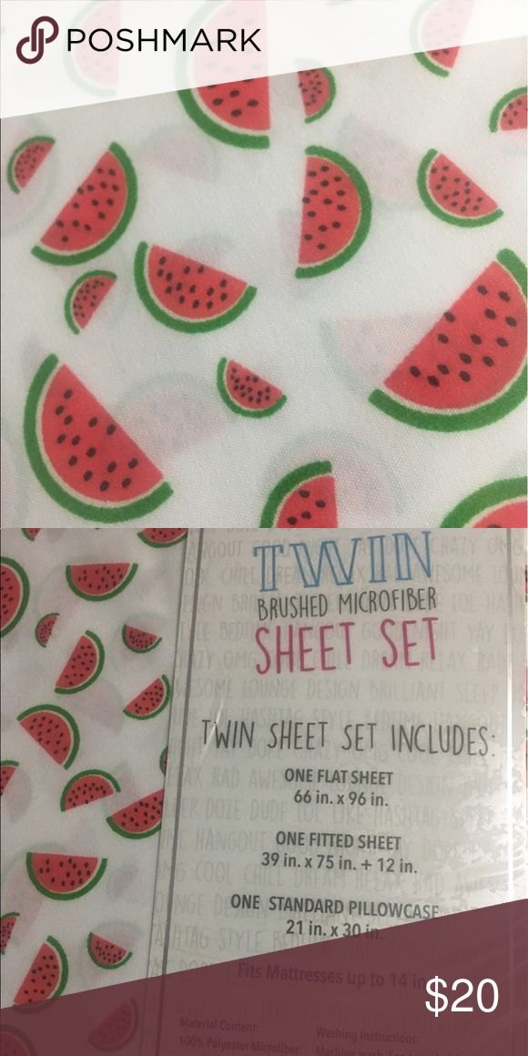 Watermelon red green white twin sheet set bedding Twin size sheet set bedding watermelon white red and green Other