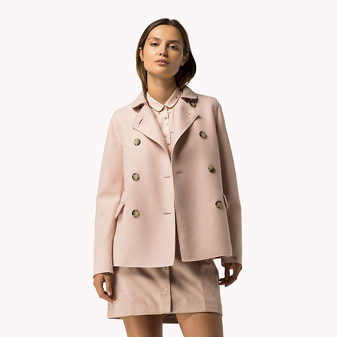 TOMMY HILFIGER Boiled Wool Coat - ROSE SMOKE - TOMMY HILFIGER Coats & Jackets - main image