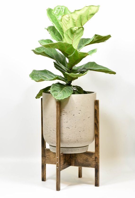Xl Mid Century Modern Plant Stand With Cement Pot Mid Century