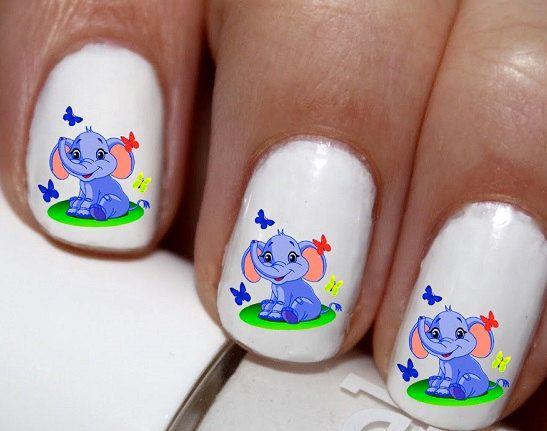 20 pc Baby Elephant Cute Elephant Nail Art Nail by EasyNailTrends