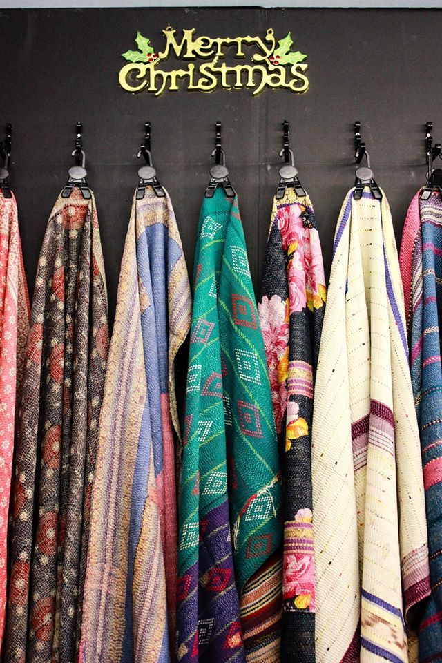 copyright: thelittletibet.com  Our kantha throws at Ideal Home Christmas Show 2014
