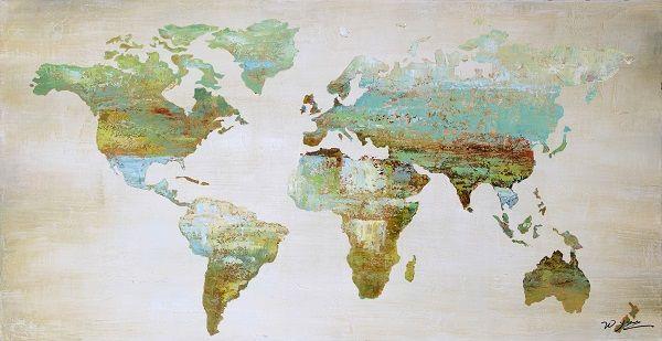 Earth de Fleur Homewares - Canvas Oil Painting - Scenic World Map