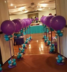 Silver, Purple and Teal Balloon Centerpieces by Extra POP by Yolanda