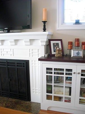 Like the dark stain top on white built-in cabinets