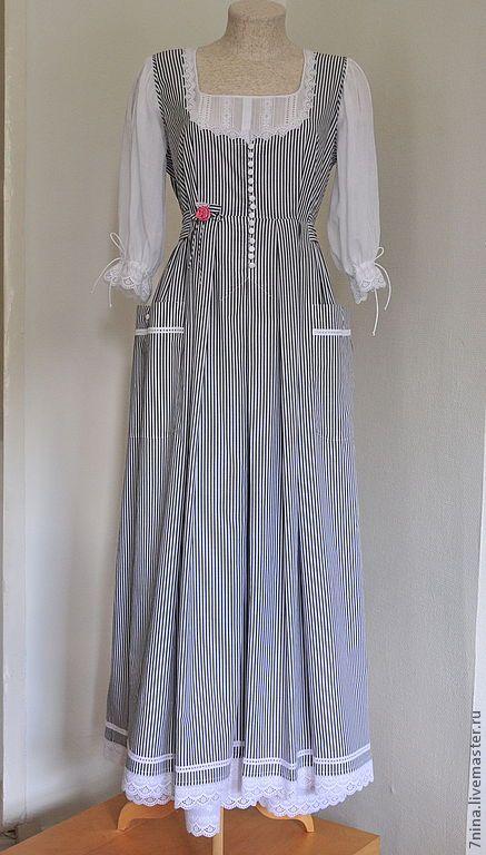 Купить Платье-сарафан для лета - чёрно-белый, в полоску, летнее платье, хлопковое платье