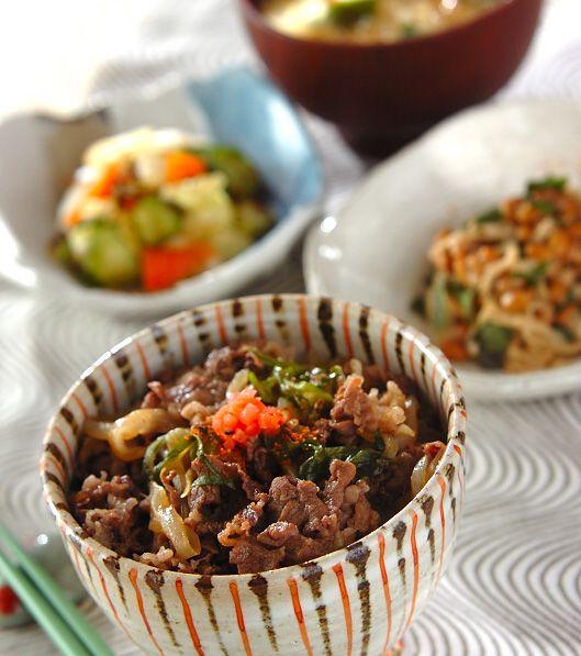「サッパリ牛丼」の献立・レシピ - 【E・レシピ】料理のプロが作る簡単レシピ/2014.03.19公開の献立です。