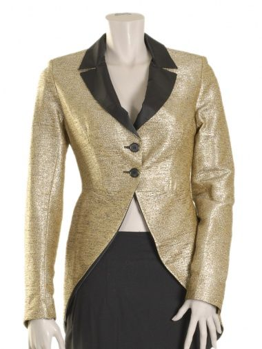 Tuxedo jacket with 2 buttons in golden fabric. Sale price $296.00