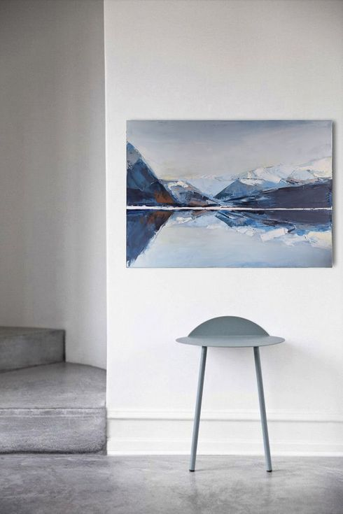 """Buy Oil painting, canvas art, stretched, """"Mountain 88"""". Size  27,6/ 27,6 inches (70/70cm), Oil painting by Karina Antończak on Artfinder. Discover thousands of other original paintings, prints, sculptures and photography from independent artists."""