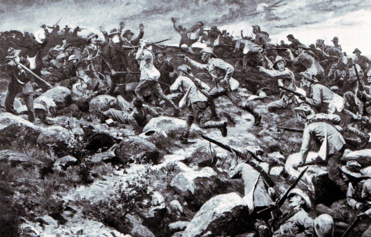 Imperial Light Horse attacking at the Battle of Elandslaagte on 21st October 1899 by William Barnes Wolllen
