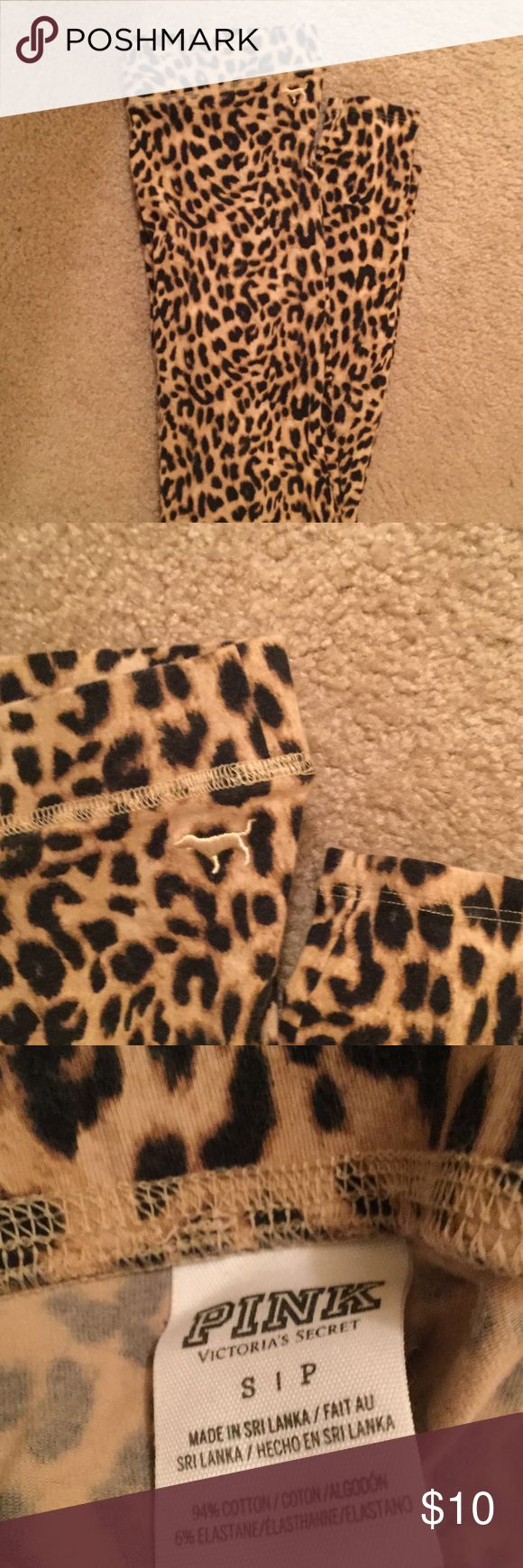 VS Pink cheetah leggings VS Pink cheetah leggings- great condition only worn twice PINK Victoria's Secret Pants Leggings