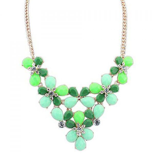 Wholesale Rhinestone Flower Pendant Stylish Necklace For Women (GREEN), Necklaces - Rosewholesale.com