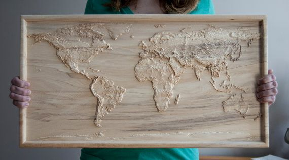 Accurate 3D Topographic Relief Carving of the World