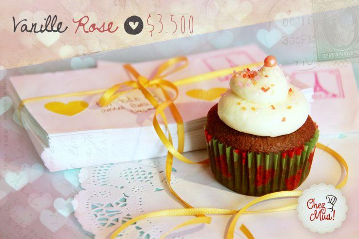 ¡Vanille Rose!   En francés el idioma del amor es vanille rose, y en español es vainilla rosa, para esos amores que apenas están comenzando a tejer su historia.   #amor #amistad #calico #cupcakes
