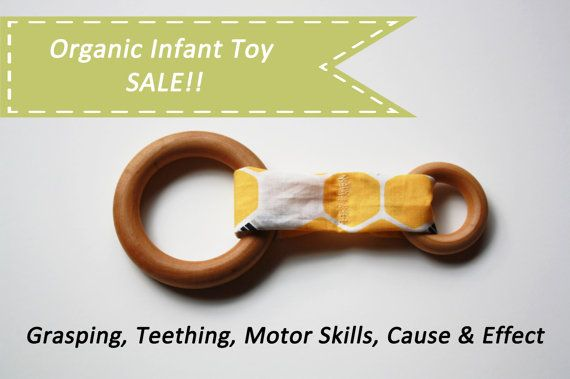 Organic toy wooden ring fabric all natural baby toy car by iPuke