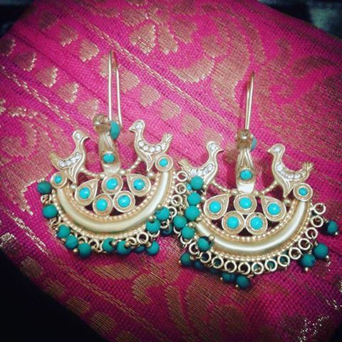 Amrapali Silver Gold Plated Turquoise Bird Moon Earring