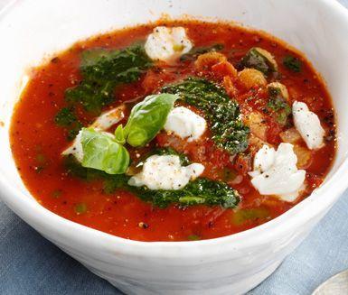 Mustig tomatsoppa med mozzarella och basilika