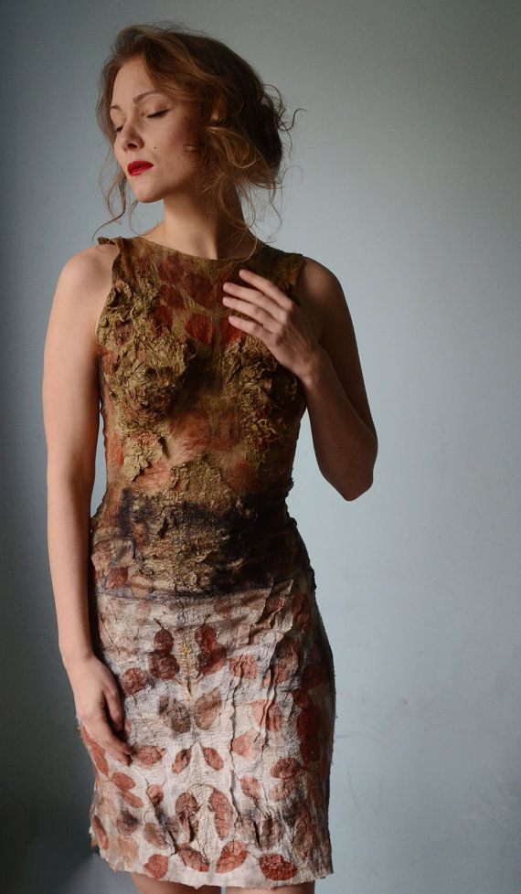 Eco fashion dresses Nuno felted and eco printed dress by vilte, $699.00