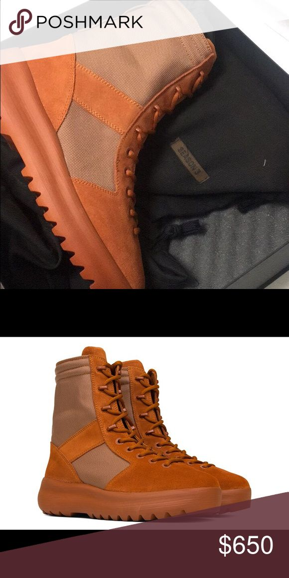 Yeezy season 3 burnt sienna boots Yeezy season 3 burnt sienna boots! Is size 9! Never been worn. Brand new with box and receipt! Yeezy Shoes Combat & Moto Boots