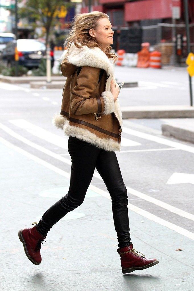 Behati Prinsloo in a fuzzy coat // #modeloffduty #streetstyle