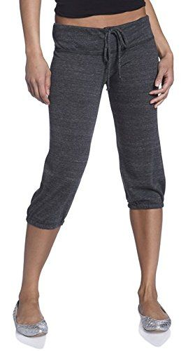 Alternative Women's Eco-Heather Cropped Pant, Eco Black, Medium - The perfect workout partner, these comfy pants are designed to keep you cool with cropped legs and a lightweight, eco-friendly fabric. This style features a wide waistband, with drawstring ties, and elastic casing at bottom hems for added comfort and movement.  - http://ehowsuperstore.com/bestbrandsales/clothing/alternative-womens-eco-heather-cropped-pant-eco-black-medium