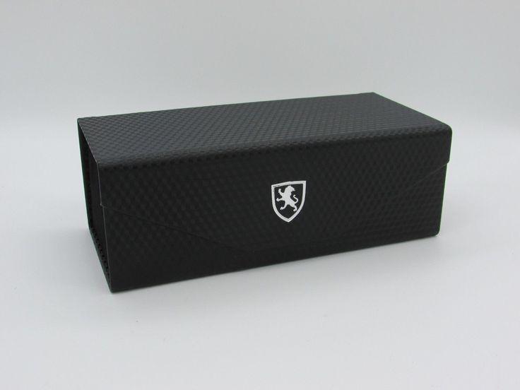 Black Khan Sunglasses Holder Case Very Stylish Carbon Fiber Pattern Collapsible