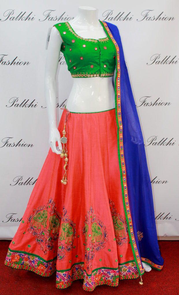 Full Flair Peach Full flair Thread work Chaniya Choli with attractive Blouse…