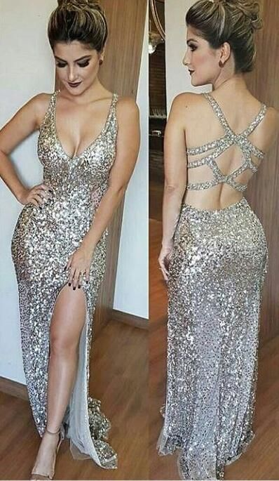 Sexy Sequin Prom Dresses with Side Slit ,Cross Back Party Dresses 2017,Cheap Evening Party Gown,Gold Sequin A Line Prom Dresses,Prom Dresses 2017