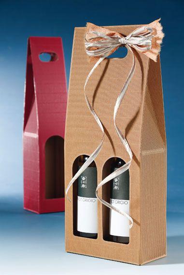 Trage-Geschenkkarton aus Offener Welle für Wein, Sekt und Spirituosen.