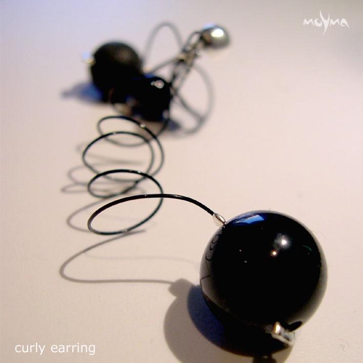 Black Curly earrings